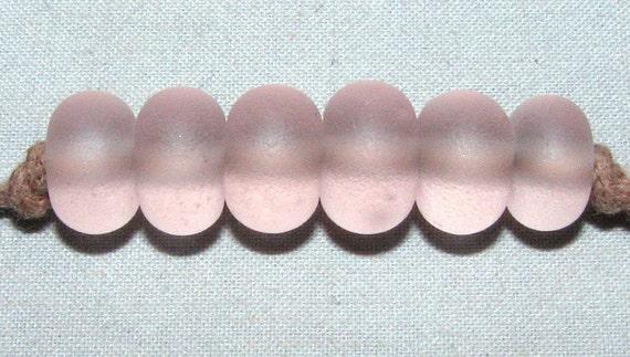 "6 ""Pink"" Lampwork Beads Made From Sea Beach Glass San Juan Island, Wa. - Jewelry, Crafts, Art"