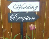 Wooden Directional Wedding Signs with Arrows with Damask Pattern.  Personalized, made to order, wedding signs for your special day.
