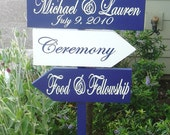 Custom Signs. Wedding Directional sign and arrows for Beach Wedding, Ceremony, Reception, Fiesta, Photos or Cocktail sign.