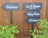 Custom Wedding Signs. Package set of 3 Plus 1, Wedding Directional Signs with Arrows. Beach Wedding, Ceremony, Reception or Event.
