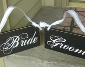 Wedding Chair Signs...Mr. and Mrs. or  Bride and Groom, very elegant Black and White signs are 6 X 12 inches. They can be done in your wedding color's. Over 300 Wedding signs in our shop.