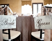 Bride and Groom Chair Signs and/or Thank and You. Wooden Wedding Signs, Photo Props.  Reception, Bridal Signs.  Featured on Etsy Front Page.