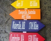 Directional Arrow Signs with Cities and Miles to your Wedding. Personalized, wood signs for your Reception, Wedding or Special Event.