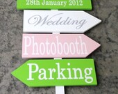 Directional Wedding Signs with Arrows.  May be designed for your Wedding, Ceremony, Reception, Parking, Photobooth or Special Events.