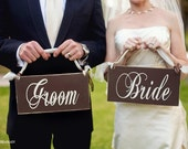 Wedding Chair Signs, Bride and Groom and/or Thank You Wedding Signs, 6 X 12 inches.  Seating Signs, Wedding Photo Props.