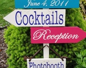 Custom Wedding Directional Signs with Arrows with Damask Pattern. Bride and Groom Names and Wedding Date, Cocktails, Reception, Photobooth.