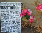 Custom Typography, Family Rules, Subway, Bus Roll, Word Art, Art Menu, Lyrics, Music, Wedding Vows, Wall Art, Home Sign, Vintage, Gift Sign.