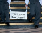 Wood Wedding Sign Here Comes the Bride and/or And they lived Happily ever after. 8 X 16 in. Flower Girl, Ring or Sign Bearer. Marriage Sign.
