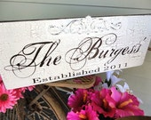 Custom Last Name Sign with Embellishment and Est. or Wedding Date. Vintage Family Name Sign, Home Sign, Anniversary, Wedding Gift Sign.