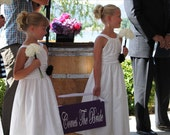 Here Comes The Bride with Just Married on back. 8 X 24 inches. Wooden Wedding Sign. Ring Bearer, Flower Girl, Sign Bearer. Bride Sign.