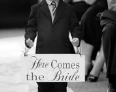 Wedding Sign, Here Comes the Bride and/or And they lived Happily ever after. 8 X 16 in. Flower Girl, Ring Bearer, Sign Bearer.  Bridal Sign.