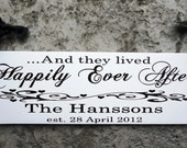 Custom Wedding Sign, Here Comes the Bride with And they lived Happily Ever After with Bride and Grooms Names & Date. 8 X 24 inches, 2-Sided.