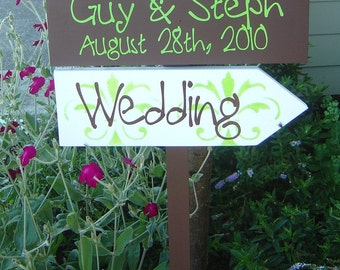 Custom Wood Wedding Signs.  Personalized Directional Signs with Arrows and Damask.