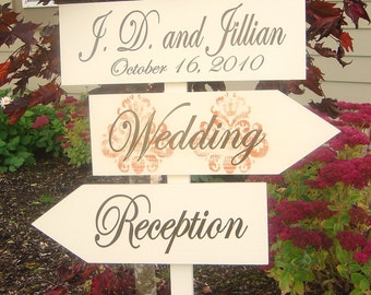 Custom Sign for Fall Wedding. Directional Sign with Arrows and Damask Pattern for Reception, Wedding or Event.
