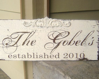 Custom Vintage Wedding Sign with Embellishment. 10 X 24 Inches. Family Name Sign, Last Name Sign, Anniversary, Birthday, Bridal Shower.