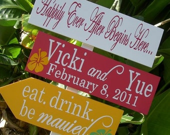 Destination Wedding Signs.  Wedding Directional Sign with Arrows. Personalized Beach Wedding Sign.  Happily Ever After Begins Here.