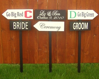 Signs. Directional Signs with Arrows. Package set of 3 includes 6 signs and 3 stakes.  Weddings, Football Parties & Graduates.