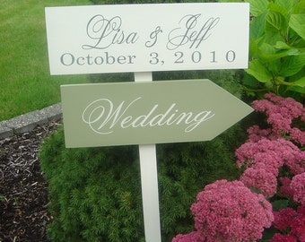 Custom Wedding Signs.  Wooden Directional Signs with Arrows with Bride and Grooms Names and Wedding Date.