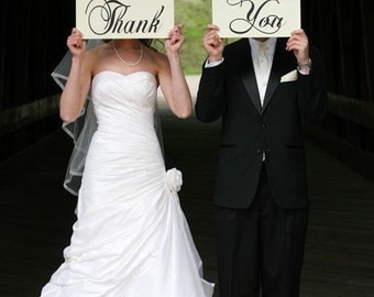 Wedding Thank You Signs, Photo Prop Signs, Wedding Photos, Reception Signs, Featured on Etsys Front Page. Two (2) Signs, 8 X 16 inches.