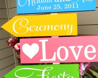 Custom Directional Arrow Sign. This sign may be designed for your Wedding, Quinceanera, Sweet Sixteen, Bar & Bat Mitzvah or Birthday Party.