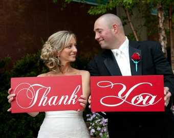 Photo Prop Signs, Thank You Signs, Wedding and Engagement Signs. Thank You with Mr. & Mrs. Crisp Red Paint, 8 X 16 in., 2 Signs, 2-sided.