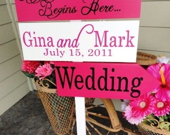Wedding Signs.  Personalized Directional Sign with Arrows. Custom wooden signs, made to order for your special day.