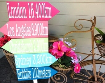 Directional Signs with Arrows showing Cities & Miles to your Wedding.  Wedding, Reception or Special Event Directional Sign.