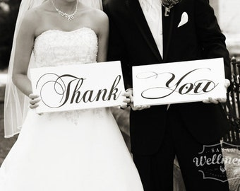 Thank You Wedding Signs, Thank You Cards, Wedding Props, Photo Booth Props, Reception Signs. Wooden Signs, Two (2) 8 X 16 inch signs.