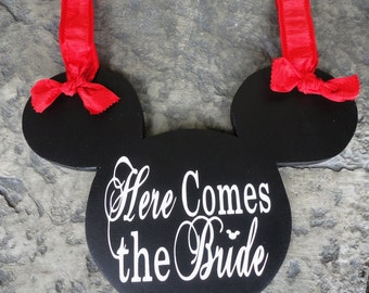 Mickey Mouse Wedding Sign, Here Comes the Bride with And they Lived happily. Heart Shaped Bridal Sign. 11 1/2 X 15 1/2 inches, 2-Sided.