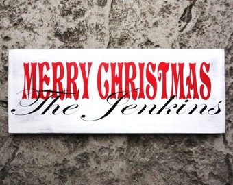 MERRY CHRISTMAS Sign for your Christmas Cards. Last Name Sign, Family Name, Photo Prop, Photography, Christmas Decorations.