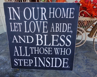 Vintage Typography Word Art, Family Rules, Subway Style, We Do Sign, Welcome Sign, Gift Sign. In our Home Let Love Abide.