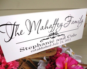 Custom Last Name Sign with Damask. Family Sign. 10 X 24 inches. Gift Sign for Birthdays, Bridal Showers, Anniversary or Holidays.