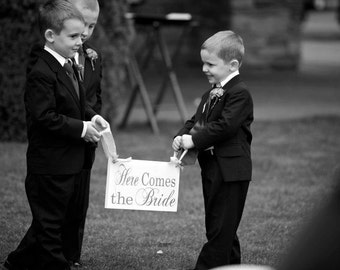 Here Comes the Bride Wedding Sign and/or And they lived Happily ever after. 8 X 16 in. Flower Girl, Ring Bearer, Sign Bearer. Bridal Sign.