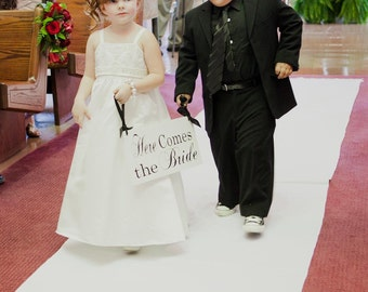 Custom Wedding Sign, Here Comes the Bride Sign and/or And they lived Happily ever after. 8 X 16 inch, Ring Bearer, Sign Bearer, Flower Girl.