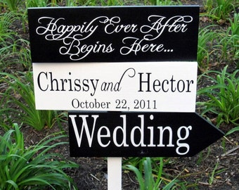 Custom Wedding Directional Arrow Signs.  Featured on TLC's Four Weddings.  Bride & Groom Names with Date.  Happily Ever After Begins Here.