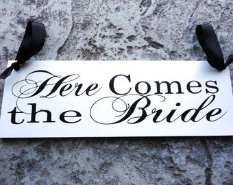 Wedding Sign, Here Comes the Bride and/or Mr. and Mrs., Bride and Grooms Name with Date. 8 X 24 inches, Bridal Sign, Reception Sign.