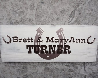 Country Wedding Sign, Custom Last Name Sign. Family Name Sign. 10 X 24 inches. Horse Shoes. Birthdays, Bridal Showers, Anniversary gift.