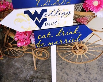 Unique Wedding Directional Arrows with Damask for West Virginia/Wedding Vows. Personalized with your College Emblem. Eat, Drink, Be Married.
