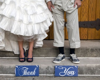 Chair Signs with Thank and You and/or Mr. and Mrs.  6 X 12 inches.  Wedding Signs, Photo Props, Reception Signs.
