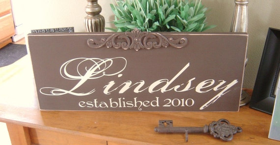 Vintage Family Name Sign with Embellishment and Est. or Wedding Date. Last Name Sign, Home Sign, Wedding Announcement or Wedding Gift idea.