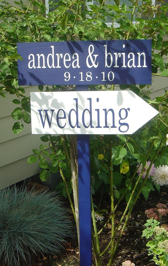 Personalized Directional Signs with Arrow with Bride and Grooms Names and Wedding Date.  Wooden Wedding Sign for your Special Day.