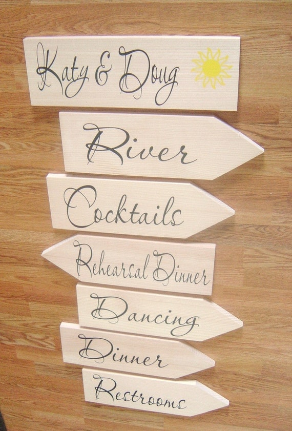 Wedding Signs.  Unpainted (Bare) Wood  Directional Signs with Arrows for Wedding, Rehearsal Dinner, Beach Wedding, Ceremony or Reception.