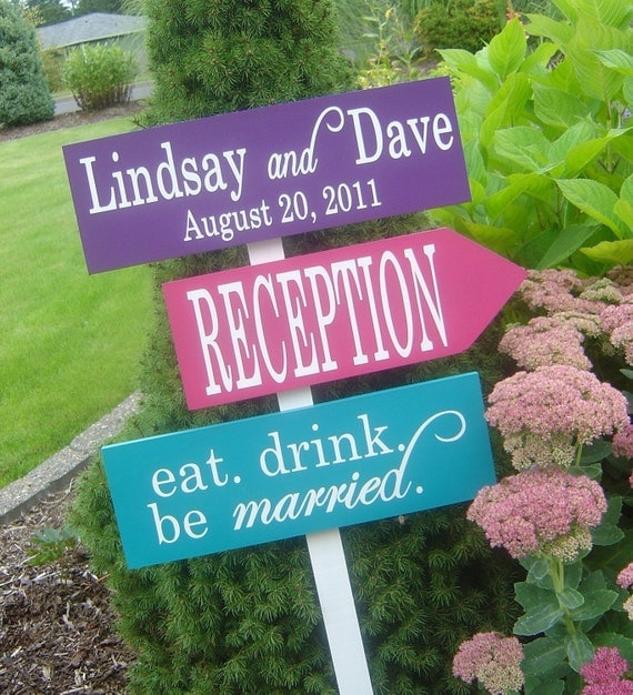 Directional Signs with Arrows.  Wedding Welcome Sign.  Custom sign for your Wedding, Reception or Special Event.