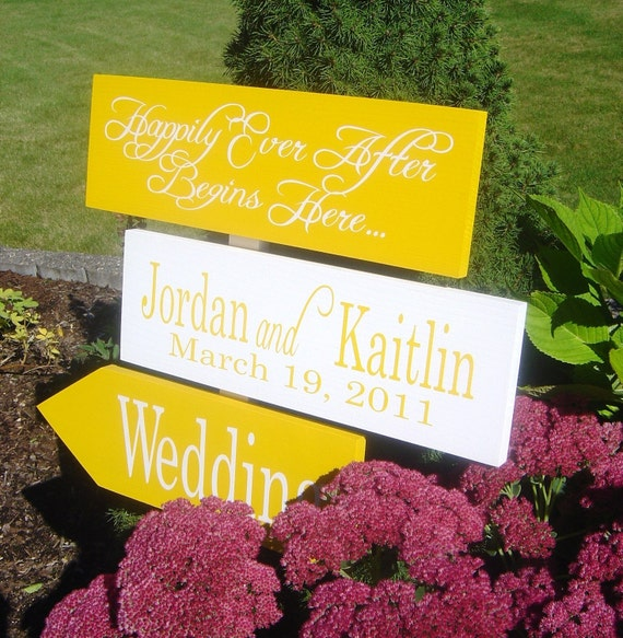 Wedding Directional Sign with Arrows. Personalized sign for your Wedding or Event.  Happily Ever After Begins Here...