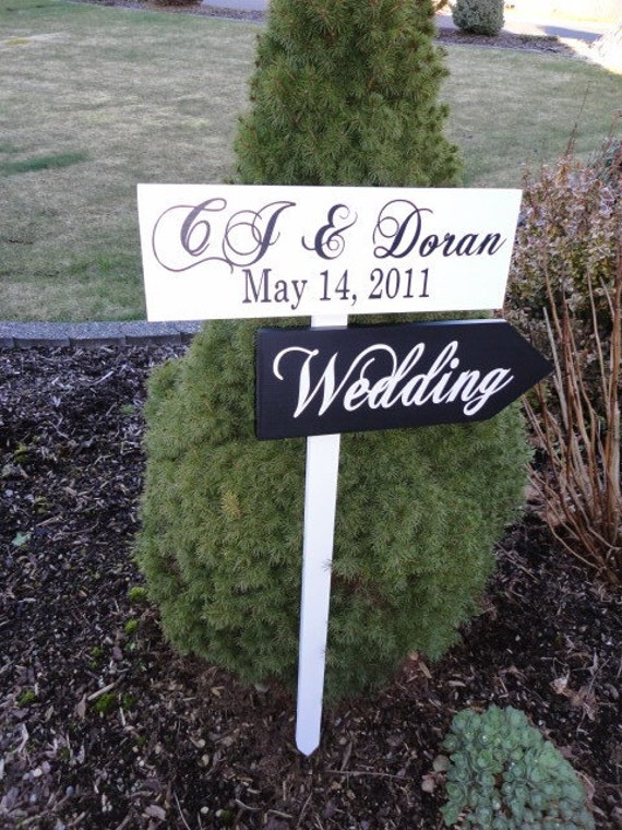 Directional Signs with Arrows.  Personalized Wedding Signs for your Wedding, Beach Wedding, Ceremony, Reception or Event.