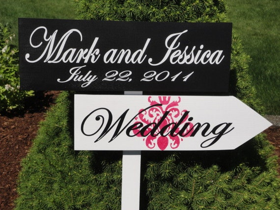 Wedding Directional Signs with Arrow with Damask.  May be designed for Wedding, Ceremony, Reception, Cocktail, Dancing or Special Events.
