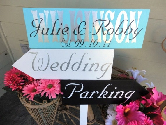 Custom Wedding Direction Signs with Arrows.  This Wedding Sign makes a great keepsake with Last Name and overlay of First Names & est. date.