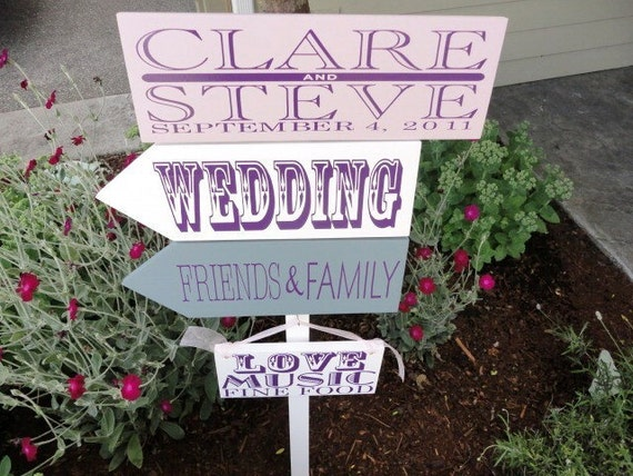 Wedding Signs.  Custom Wedding Directional Signs with Arrows. Personalized, handmade signs for your wedding, ceremony or Special Day.