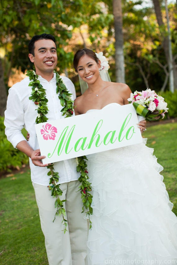 MAHALO Hawaiian Thank You Sign for Your Thank You Cards, Beach Wedding, Destination Wedding, Photo Props, Receptions. 8 X 24 inch, 1-sided.