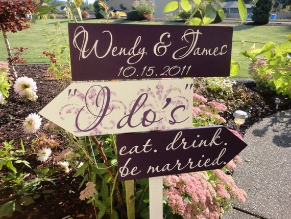 Custom Directional Wedding Signs with Arrows and Damask Pattern.  Personalized, unique, wooden wedding signs for your Special Day.